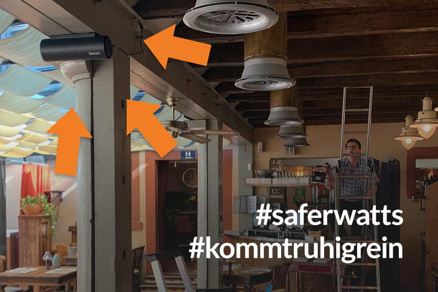 Ozon Luftreiniger für Eure Sicherheit bei Corona in der Watt's Brasserie in Ettlingen