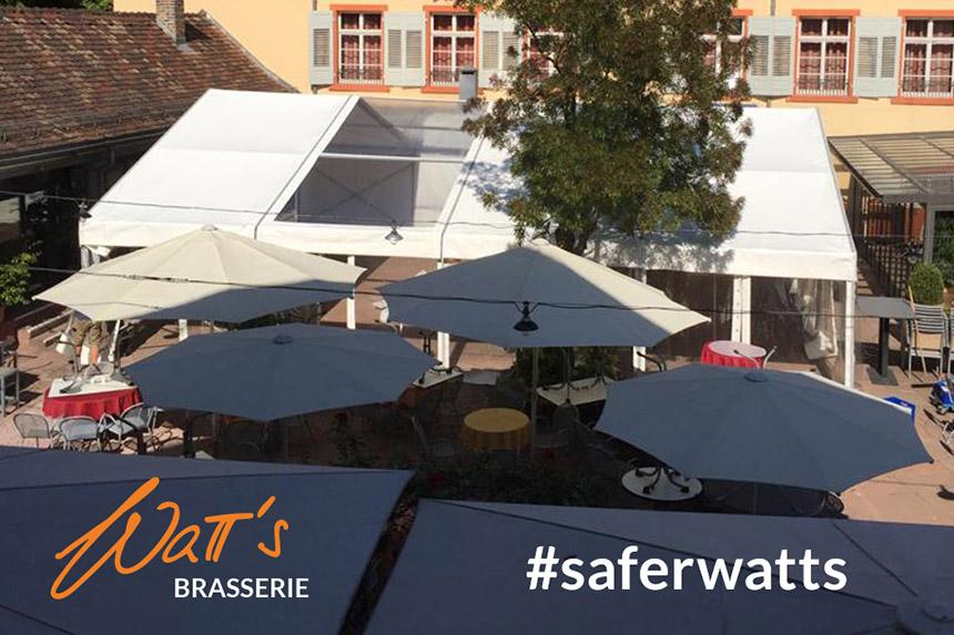 Wie draußen Sitzen im Zelt der Watt's Brasserie in Ettlingen. Länger Biergarten.