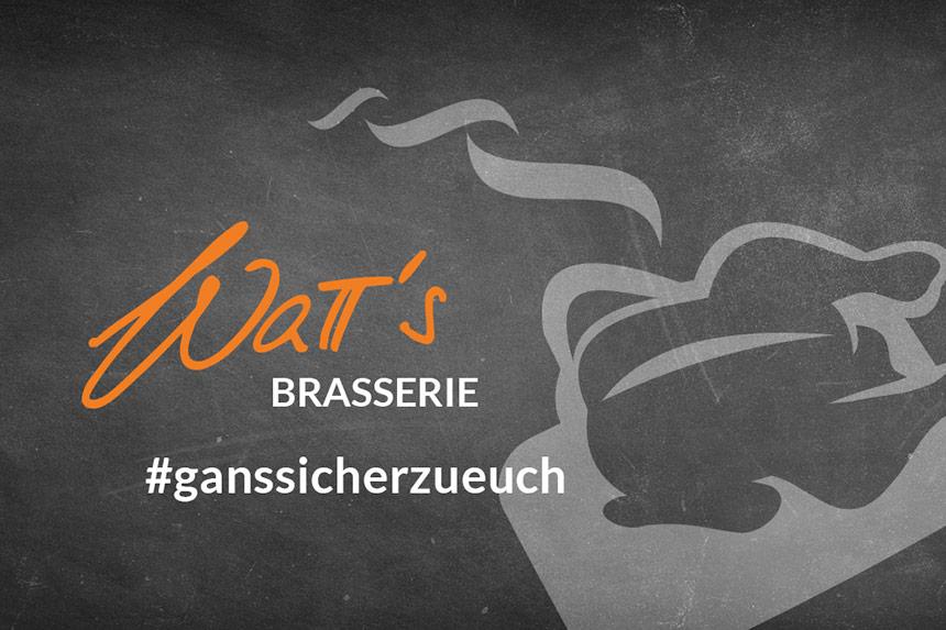 Noch einmal eine ganze Gans für 4 Personen mit Marzipanbratapfel von der Watt's Brasserie in Ettlingen